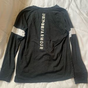 Under Armour Long Sleeve Grey and White Small